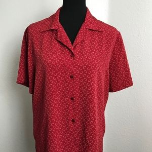 Notations Red Print Short Sleeve Blouse Size L